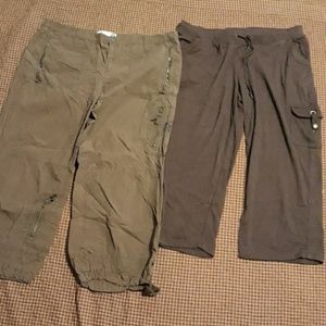 2 pairs of brown pants Old Navy size 14